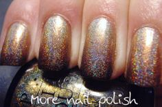 More Nail Polish: Golden brown holo gradient yowza
