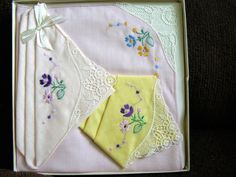 Vintage Cotton and Lace Handkerchiefs in Original Box - Lovely Pink and Yellow with Embroidered Flowers by Something2SingAbout on Etsy