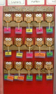 Owl-Themed Classroom Ideas - Classroom Bulletin Boards and Decor Preschool Classroom Jobs, Preschool Job Chart, Preschool Jobs, Owl Classroom Decor, Classroom Job Chart, Classroom Helpers, New Classroom, Classroom Design, Classroom Themes