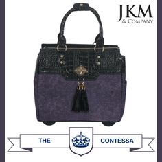 d737a15147f Feel like royalty with our new purple   black rolling laptop tote holdall  bag. The