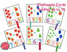Great activities for addition up to 10. Clothespin cards, puzzles, Bump and more!