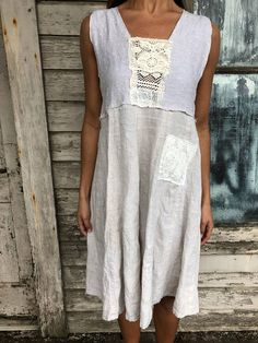 """Romantic/Tattered/Rustic/Boho/Gypsy Dress upper part of dress is made with a variety of upcycled materials lower part is made with cotton and has added pocket along front Size-small medium chest-36"""" has stretch hips- free length-38"""""""