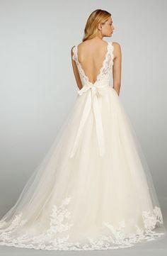Bridal Gowns: Jim Hjelm A-Line Wedding Dress with High Neck Neckline and Natural Waist Waistline