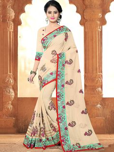 Refined beige party wear georgette designer saree. Having fabric georgette. This beautiful attire is showing some amazing embroidery done with lace border work and floral print embroidery work. Comes with matching blouse. #mydesiwear #onlineshop #sarees #womenstyle #womenfashion #festivewear #partywear #fashion #ethnicwear #ceremonywear #weddingfashion #weddingseason #indianwedding #weddingbeauty #weddingsarees #weddingfestival #weddingtrendz #stylewedding #bridetobe #bridelook