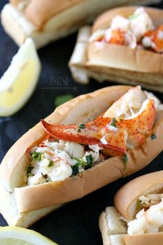 This Connecticut style hot lobster roll recipe is packed full of fresh lobster that has been tossed in a lemon cilantro butter. Say hello to lobster happiness. Meat Recipes, Seafood Recipes, Cooking Recipes, What's Cooking, Cooking Ideas, Fish Recipes, Vegetarian Recipes, Dinner Recipes, Gourmet