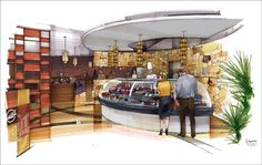 Great deli / restauant rendering sketch