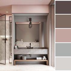 Bathroom Decor with Pink Vintage Memorabilia Home Room Design, Bathroom Interior Design, House Design, Grey Interior Design, Interior Design Magazine, Bedroom Colors, Bathroom Inspiration, Colorful Interiors, Living Room Decor