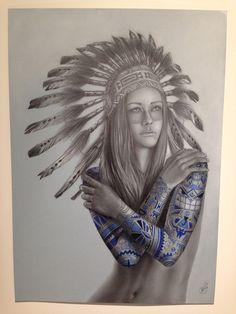 native women with headdress tattoos - Google Search