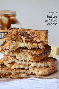 Sharp white cheddar cheese melted in between thick slices of bread spread with Musselman's Apple Butter. Apple Butter Grilled Cheese is savory, sweet, and filling!