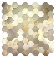 Abolos Enchanted Metals Gold x Metallic Metal Patterned Wall Tile at Lowe's. Make your next design project extraordinary with The Enchanted Metals Collection, our premier line of Aluminum tiles. Every tile is carefully made and Metallic Wall Tiles, Patterned Wall Tiles, Hexagon Backsplash, Mosaic Wall Tiles, Mosaics, Kitchen Backplash, Kitchen Tiles, Nice Kitchen, Kitchen Design