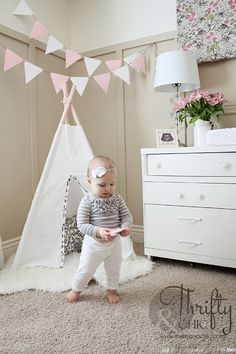 DIY 3 sided teepee. Only cost $7 to make! Nursery ideas and inspiration #nursery #inspiration #baby