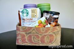 Recycled coffee bean sack gift bag tutorial & GC Pairing Ideas for the Holidays - #ad http://www.diyinspired.com/gift-card-pairing-ideas-holidays/