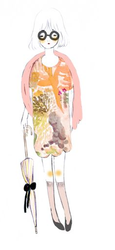sketch showing an idea for a dress with a watercolor pattern. it´s a bit too romantic...