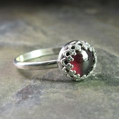 Cranberry Jubilee - sterling silver solitaire ring with 8 mm red garnet set in filigree. ...from LavenderCottage on Etsy