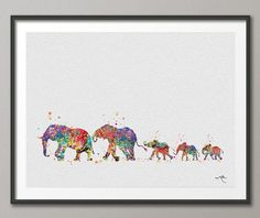 Elephant Family Mom Dad and Babys 3 Art Print by CocoMilla on Etsy