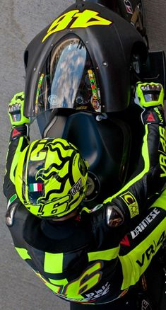 Valentino Rossi looks so strange on a matte black bike and not the infamous blue and bright yellow