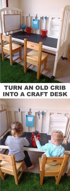 refurbish a crib into a craft table for the kids! -Easy DIY furniture makeovers and ideas! A lot of repurposed thrift store projects and chalk paint ideas so that you can do it for cheap. Before and after photos of dressers, tables, shelves, tv stands and more! For bedrooms and living rooms. Listotic.com