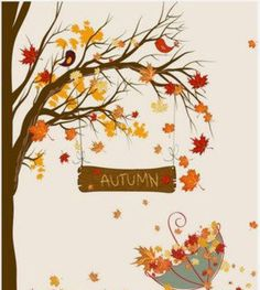 Fall Umbrella by Secretly Spoiled Graphic Art - Fall Crafts For Toddlers Fall Arts And Crafts, Autumn Crafts, Autumn Art, Autumn Trees, Autumn Leaves, Fall Crafts For Toddlers, Toddler Crafts, Decoration Creche, Umbrella Art