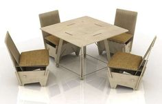 Ecoseries furniture set design consists of a table and chairs. The chairs are combinations of plywood and thick rope, forming the simple geometry and assuring Nomadic Furniture, New Furniture, Outdoor Furniture Sets, Outdoor Decor, Furniture Ideas, Cnc, Furniture Sets Design, Cardboard Furniture, Diy Chair
