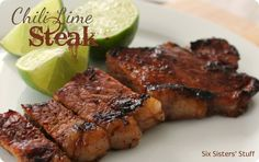 Chili Lime Rubbed Steak Recipe from sixsistersstuff.com.  This rub is so easy to make and tastes AMAZING! #recipes #steak #dinner
