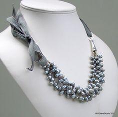 Gray Pearl Necklace, Pearl Multistrand Statement Bib on Silk Ribbon