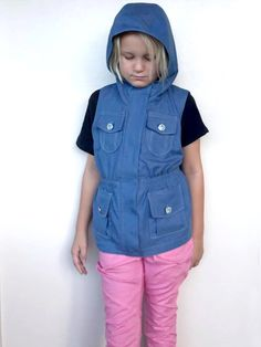 Tween anorak denim vest with pocket flaps // sewing pattern by Paisley Roots from One Thimble Issue 14 // pattern hack for adding pocket flaps (inc pattern pieces) on blog