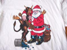 NIKE - Santa & Krampus German Folk Devil T-shirt White - EUC - Sz M 32 34 #Nike #TShirt