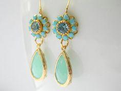 Gold Bridesmaid Earrings  Vintage Swarovski Earrings by DanaCastle, $31.00