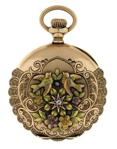 Elgin 14k Multi Colored Gold and Diamond Ladies Pocket Watch | eBay