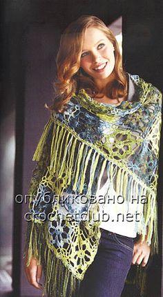 crochet shawl  шаль из мотивов крючком