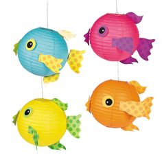 Looking for fun luau decoration ideas? These colorful tissue paper fish decorations are perfect for under-the-sea fun! Hang these tropical swimmers from the . Under The Sea Theme, Under The Sea Party, Decoration Creche, Hanging Paper Lanterns, Fish Lanterns, Pink Fish, Lantern Set, Ocean Crafts, Ocean Themes