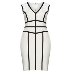 Gina Bacconi Black / Cream Plus Size Monochrome cocktail dress ($145) ❤ liked on Polyvore featuring dresses, plus size, black, cream cocktail dress, jersey dress, plus size cocktail dresses, v neck dress and knee-length dresses