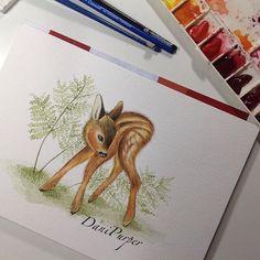 Bambi watercolor, illustration, deer, Disney watercolor