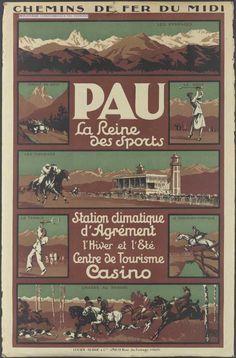 """Chemins de fer du Midi - Pau : la reine des sports - illustration de Charles Hallo dit """"alo"""" - France -"""