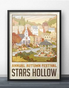 "Stars Hollow ""Autumn Festival"" Travel Poster - Inspired by Gilmore Girls by WindowShopGal on Etsy https://www.etsy.com/listing/469129577/stars-hollow-autumn-festival-travel"