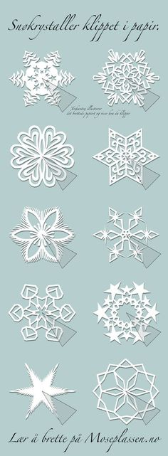 Paper snowflakes and other kirigami patterns.