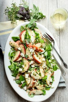 Peach Salad with Blue Cheese and Fresh Herbs - Foodness Gracious