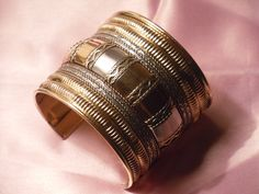 Handmade Cuff with Brass , Copper and white color metal.