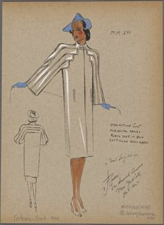 From New York Public Library Digital Collections. Fashion Design Drawings, Fashion Sketches, Vintage Sewing Patterns, Clothing Patterns, Retro Fashion, Vintage Fashion, 30s Fashion, New York Public Library, Public Libraries