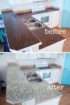 Granite Countertop Paint Kit $70.00 (for the Kitchen counters) I'm thinkin dark brown.