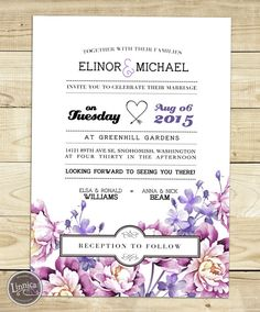 This lavender floral wedding invitation will make that dazzling first impression on your guests, and is perfect for a wedding themed around nature or vintage styles.  GENERAL INFO: ----------------------- The invitation is double-sided, the front including the floral elements, names and wedding date, and the back including the wedding details. You can also choose a quote from your favorite poem/song/etc. and add to the front of the invitation, making it more personal.  CUSTOMIZE…