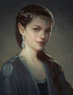 Female Elf Aristocrat - Pathfinder PFRPG DND D&D d20 fantasy
