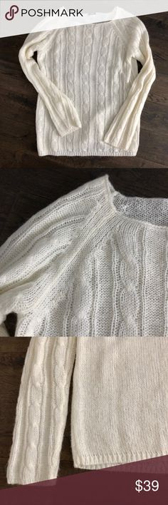 Soft, cozy white cable sweater EUC L J. Crew White / Ivory Cable crew neck sweater. Beautiful loose weave in mohair, wool and nylon, good in winter and cool spring and even summer nights. This goes with everything and is one of my favs. I actually have 2 - got 1 as a gift and never returned. I'm selling the barely worn one. Excellent, no damage, no stains, it is even pill resistant. Size L. J. Crew Sweaters Crew & Scoop Necks