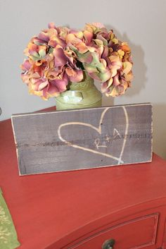 Carved Heart with Initials Wood Sign - Unique Wedding Gift Ideas