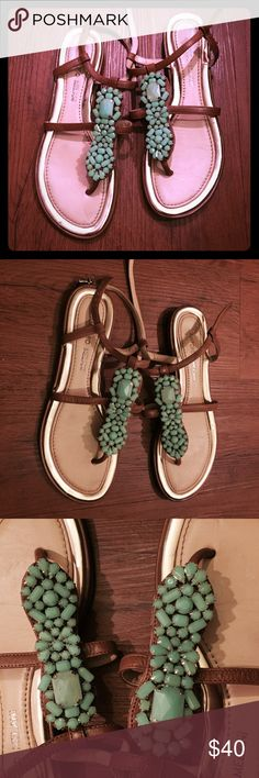 Turquoise embellished sandals, sz 6.5 Antonio Melani brand sandals in light brown with a cushion wilde and gold detail on heel. Beautiful turquoise colored jewels. Perfect for summer! ANTONIO MELANI Shoes Sandals