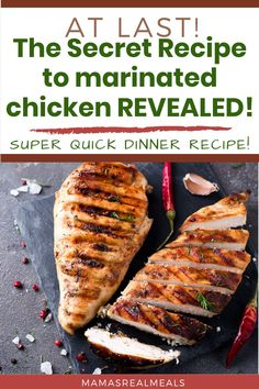 Try this amazing chicken marinade that give you a juicy, and full of flavour chicken every single time! Use this recipe on the grill, stove or bake it in the oven. With only 4 ingredients, you know it'll be easy to make! Chicken Marinade Recipes, Asian Chicken Recipes, Chicken Marinades, Marinated Chicken, Clean Eating Chicken, Moist Chicken, Quick Dinner Recipes, Easy Recipes, Ground Beef Recipes