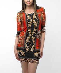 Take a look at this Orange & Black Status Half-Sleeve Dress by Sioni on #zulily today! $25 !!