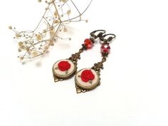 Red roses Hand embroidered dangling earrings, Victorian style, red