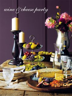 Wine and cheese party set up