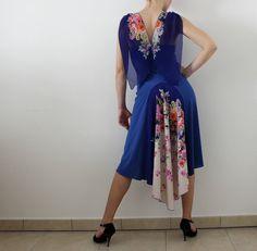 Vestito blu con coda per Tango Argentino di CrinolinAtelier